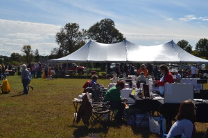 Other vendors at the Easton Oktoberfest, the food station, and the tent where the band was playing